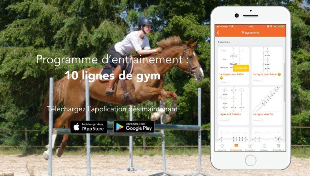 Programme d'entrainement spécial lignes de gymnastiques sur l'app Equisense