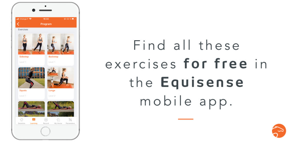 Equisense mobile app to find a lot of strength training exercises for riders