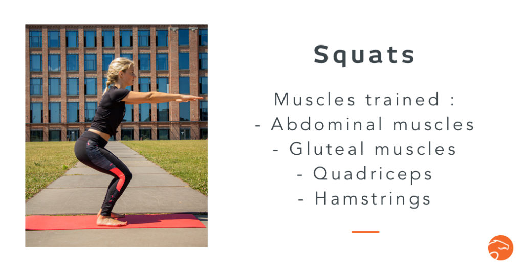 squats, a good strength training exercise for riders