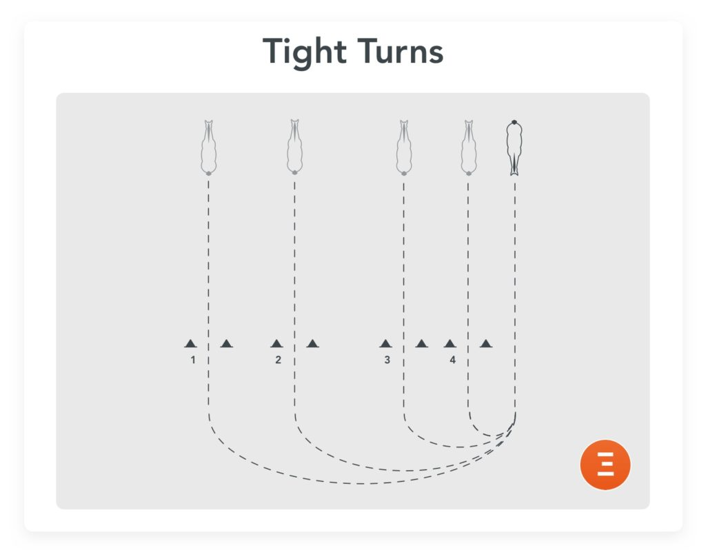 Tight turns, an exercise to prepare for a jump-off