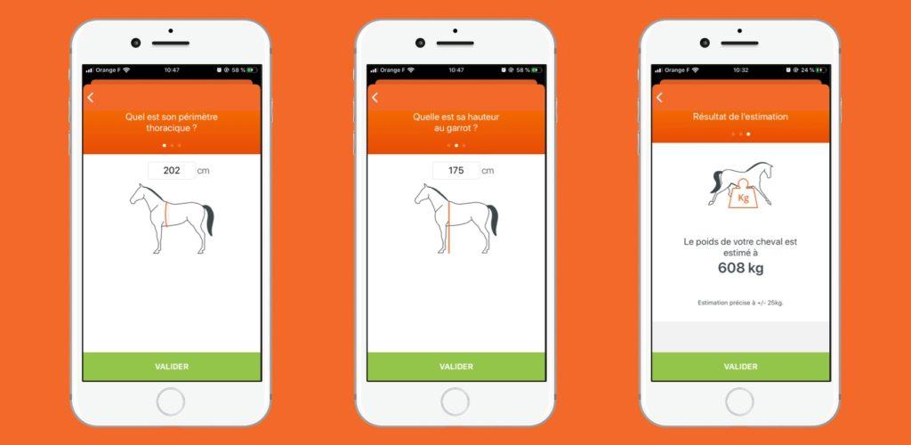 aide au calcul du poids du cheval sur l'application Equisense