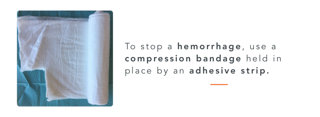 compression bandage to stop hemorrhages